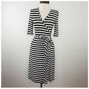 Navy and white striped wrap dress